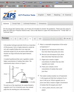 This is a screenshot of the ZAPS online ACT-Practice Test.